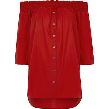 Red shirred bardot shirt