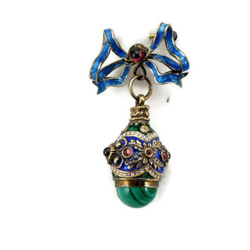 Jeweled Enamel Egg Malachite Sterling Silver Gold Gilt Russian Faberge Charm Holder Estate Jewelry Vintage Egg Easter Pendant Charm