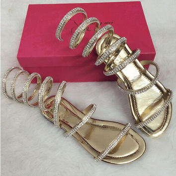 Plus size34-46 Summer women sandals Crystal Sexy Women Gladiator Sandal women Boots Snake Flat Women Shoes Roman shoes