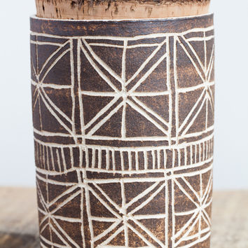 April Napier Ceramic Squares Canister with Cork