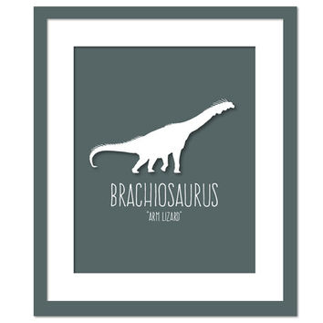 Brachiosaurus Dinosaur Art Print Poster - Nursery Bedroom - Dinosaur Birthday - Animal Poster for Children - Dinosaur Party - Kids Wall Art