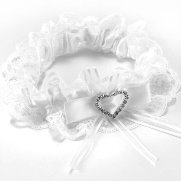White Lace Wedding Garter with Bow and Rhinestone Heart