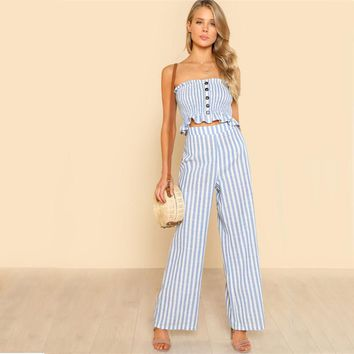 BLUE SKIES STRIPED RIGHT PANTS SET