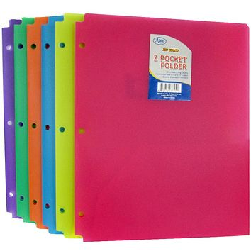 Premium Snap In Plastic 2 Pocket Folders - Assorted Colors - CASE OF 60