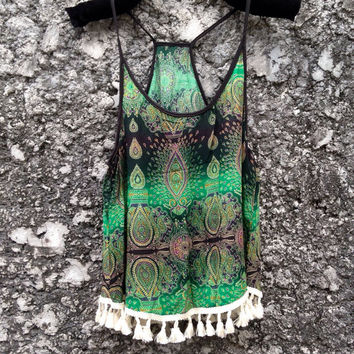 Camisole Top with Tassles Tribal Bohemian Boho Hobo Hippies Peacock Print Aztec Strappy Tank Beach Clothing Summer fashion Cloth Green Cami