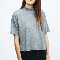 Light Before Dark Crop Turtle-Neck Tee in Grey - Urban Outfitters