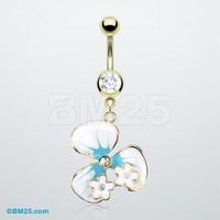 Summer Flower Teal Belly Ring