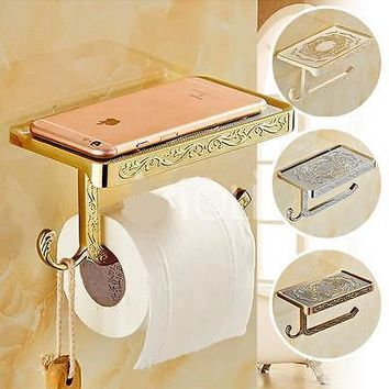 Modern Gold Brass Wall Mounted Toilet Paper Phone Holder Hanger