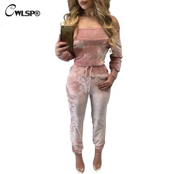 Popular Velvet Romper Women Jumpsuit Long Sleeve Autumn Winter Overalls Sashes Slash Neck Off Shoulder womens jumpsuit QL2863