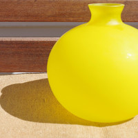 round yellow vase // bright yellow frosted glass vase