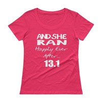 And She Ran Happily Ever After 13.1 Marathon Women's crew neck Top