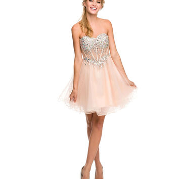 Nude Rhinestone Corset Strapless Short Dress   2015 Homecoming Dresses