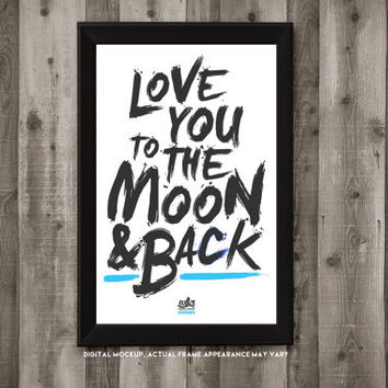 11x17 Framed Typography Prints - Love You to the Moon & Back - Cute Home Decor - Finger Paint Style - Tearproof Prints (5 Available Designs)
