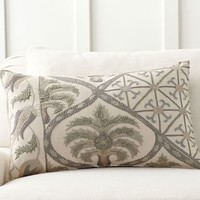 Zerrin Suzani Embroidered Lumbar Pillow Cover