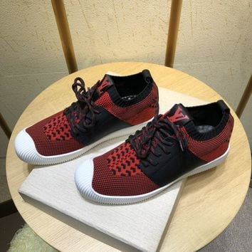 LV Louis Vuitton Men's Cloth And Leather Fashion Sneakers Shoes