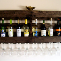 Reclaimed Wood Wine Rack - Pallet Wood Wine Rack - Dark Walnut - Brown or Natural (no color) Wine Shelf Eco Friendly