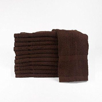 Cotton Salon Towels (24-Pack, Brown,16x27 inches) - Soft Absorbant Quick Dry Gym-Salon-Spa Hand Towel (Brown) (100%