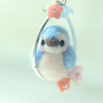 Bird necklace, needle felted bird jewelry, soft sculpture blue bird on pink flower hoop necklace, whimsical jewelry, gift under 25
