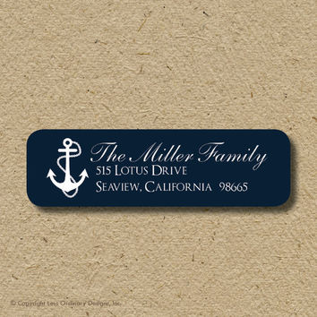 Custom return address labels, self-adhesive - nautical anchors in navy blue