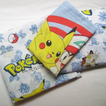 Pokemon TWIN Size Bed Set of 3 Pikachu Craft Nintendo 1998 Flat Fitted Pillowcase Boy Girl Kids Bedding Decor Fabric Clean Used