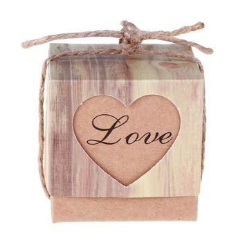50 Pcs Wedding Boxes Gift Box Romantic Heart Kraft Gift Bag with Burlap Twine Chic Wedding Favors and Gifts Box Party With Ropes
