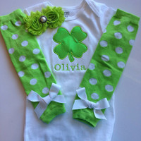 Baby girl St. Patricks Day Outfit - newborn st patricks day outfit - clover outfit - personalized baby girl outfit - green leg warmers