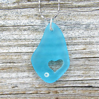 Caribbean Blue Sea Glass Heart Necklace Beach Boho Summer Style Fashion Crystal by Wave of Life™