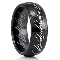 Lord Of The Ring - Tungsten Wedding Band - Black Tungsten Ring - 8mm Ring