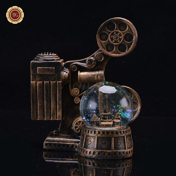 WR Desk Ornaments LED Lighted Snow Globe Ball Vintage Movie Projector Model Toys Gift 12X10X17 Cm Home Office Decoration