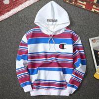 Supreme & Champion New fashion cap embroidery letter bust embroidery logo keep warm thick couple hooded long sleeve stripe sweater top