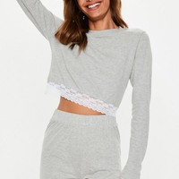 Missguided - Gray Lace Trim Shorts Pajamas Set