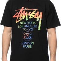 Stussy Tie Dye World Tour Black T-Shirt