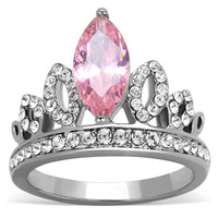 Marquise Pink Tourmaline & Round Clear CZ Crown Stainless Steel Ring