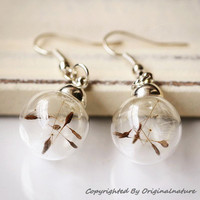 Nature Inspired Jewelry Real Dried Clover Earrings Gift (HM0047)