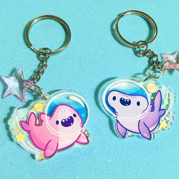 Space Shark Acrylic Charms (1.5 in) | Double-Sided | Cute Sharks Keychain | Hammerhead Stars Phone Strap