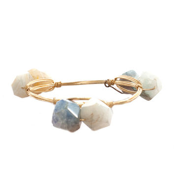 Bourbon & Boweties Double Pale Blue Quartz Rock Bangle