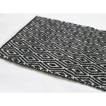 Diamond Pattern Cotton Chenille Rug Runner, Black And White