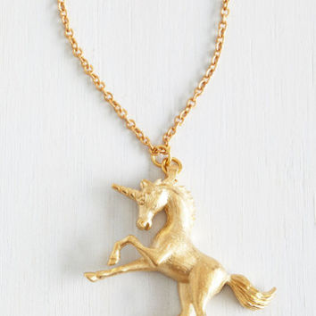 The Golden Unicorn Necklace by ModCloth