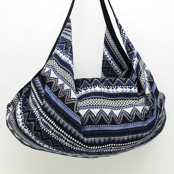 Woven Bag backpack Hobo Boho bag Shoulder Bag Crossbody Bag Tribal bag Gypsy Bag Blue