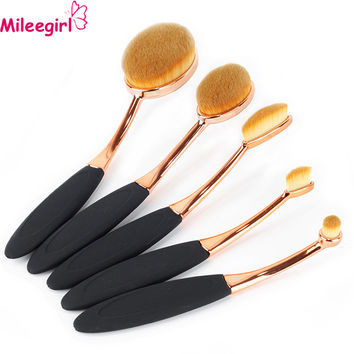 Mileegirl 5pcs Oval Makeup Brushes,Eyeshadow Powder Foundation Blush Make Up Brushes,Cosmetic Toothbrush Makeup Brush Set