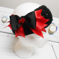 Black Crochet Headband With Alice in Wonderland Queen of Hearts boutique Stacked hair bow
