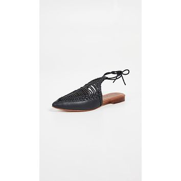 Free People Dana Woven Flats Black