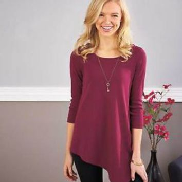Women's V-Bottom Tunic Top 3/4 Length Sleeve Wine Color Plus Size 3 X 26/28