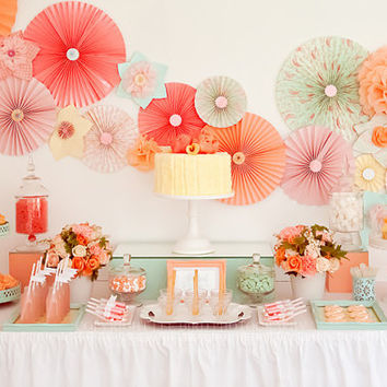 Party Decor Pack ...  12 Pomwheels and  5 Pompoms .... Pick Your Colors // wedding // birthday // party decoration