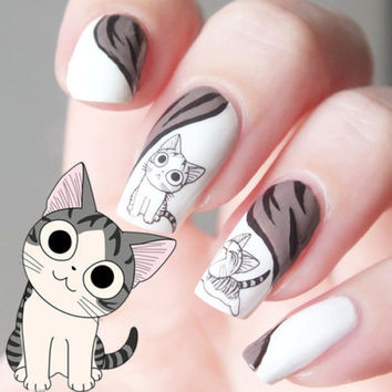 Cat pattern design water transfer Nail Art Stickers Decals For Nail Tips Decoration DIY Decorations Fashion Nail Accessories  - Free Shipping