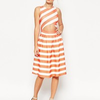 ASOS Midi Dress in Structured Stripe Rib With Cut Out