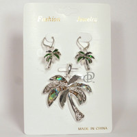 Palm Tree Pendant Earrings Set with Green Abalone Fronds