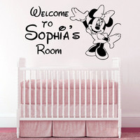 Wall Decal Personalized Sticker Name Minnie Mouse Welcom To Nursery Vinyl SM83
