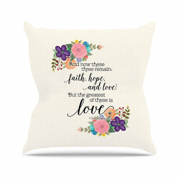 "Noonday Design ""Faith, Hope, And Love"" Beige Multicolor Throw Pillow"