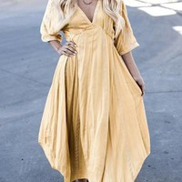 Yellow V-neck Irregular Draped Elbow Sleeve Casual Maxi Dress